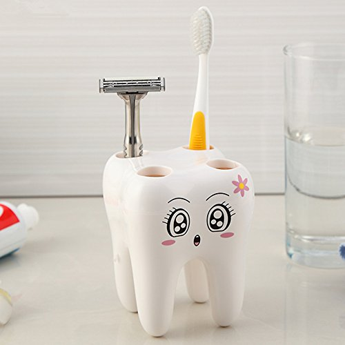 GreenSun(TM) Cartoon Toothbrush Holder,Teeth Style 4 Hole Stand Tooth Brush Shelf Bathroom Accessories Sets,Bracket Container For (Bedroom Unfinished Nightstand)