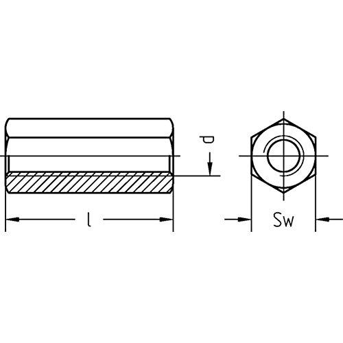 M 6 x 30 Distanz- muttern 100 St/ück, galv Dresselhaus 0//0913//001//6,0//30// //01 Verbindungsmuttern verzinkt Sechskant