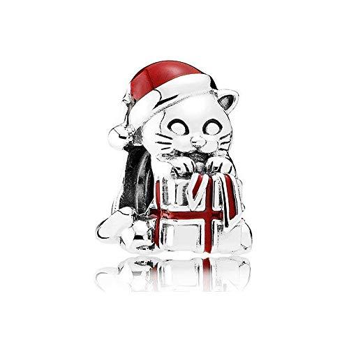 Romántico Amor Christmas Kitten/Stocking /Puppy/Bear Charms 925 Sterling Sliver Bead fit Pandora Bracelets