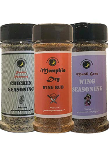 WING SEASONING | 3 Pack | Mardi Gras | Memphis Dry Rub | Rockin' Rosemary | - Crafted in Small Batches with Farm Fresh Herbs for Premium Flavor and Zest