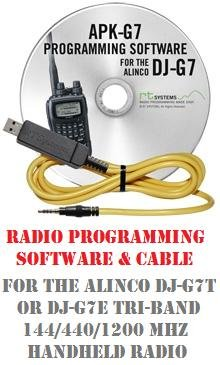 Tri Channel Kit Memory - Alinco DJ-7T or DJ-7E 144/430/1200 MHz Tri-Band Two-Way Radio Programming Software & Cable Kit