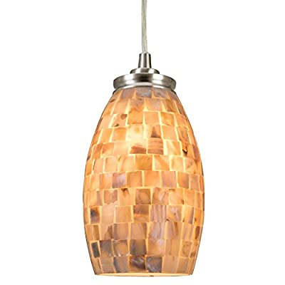 "Revel Coast 9"" Contemporary Mini Pendant Light + Hand-Crafted Mosaic Shell Glass. Satin Nickel Finish - CP210507-BN"