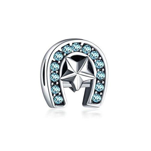 Charm Fer /à Cheval Bleu Soldes dhiver id/ée Cadeau Charms Perles Bracelets compatibles Toutes Marques
