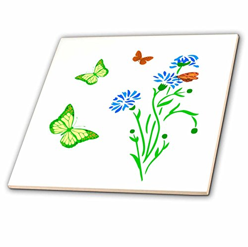 3dRose Alexis Design - Butterfly - Images of blue cornflowers and yellow and brown butterflies on white - 4 Inch Ceramic Tile (ct_276030_1) Cornflower Color Tray