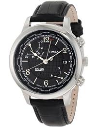 Timex Men's T2N609 Intelligent Quartz Traveller Series World Time Black Dial Black Croco Leather Strap Watch