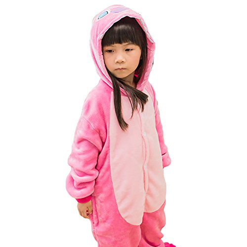 Children Pajamas Kigurumi Soft Flannel Cosplay Animal Onesies Sleepwear Boys Girls Stitch Pink X-Small -