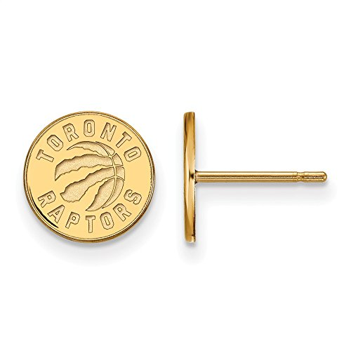 NBA 14k Yellow Gold Plated Sterling Silver Toronto Raptors X-Sm Post Earrings