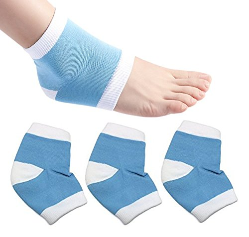 Moisturizing Gel Heel Socks Open Toe Sock for Hiker Climber Dry Hard Cracked Skin Care, GHS01 Soft Ventilate Cotton Day Night Foot Heel Care Protector Recovery Moisturizer Sleeve (Blue x 2 Pairs)