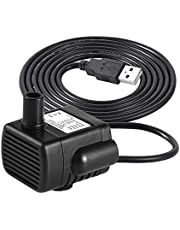 LEDGLE Mini Fountain Pump USB Compact Submersible Pumps Efficient Water Pump for Small Pond, Fish Tank, Long Cord, 180L/H, Black