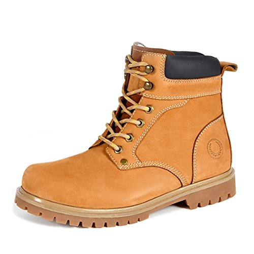 Minishion Boys Men's Cap-toe Brown Synthetic High Top Motorcycle Ankle Boots US 9.5