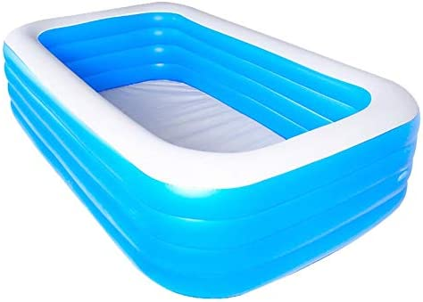 N I Swimming Pool, Pool Inflatables,Inflatable Swimming Pool Thickened Family Inflatable Pool for Children Adults Outdoors Have Fun,Family Pool, Rectangular Pool for Children, Easy to Assemble, Blue