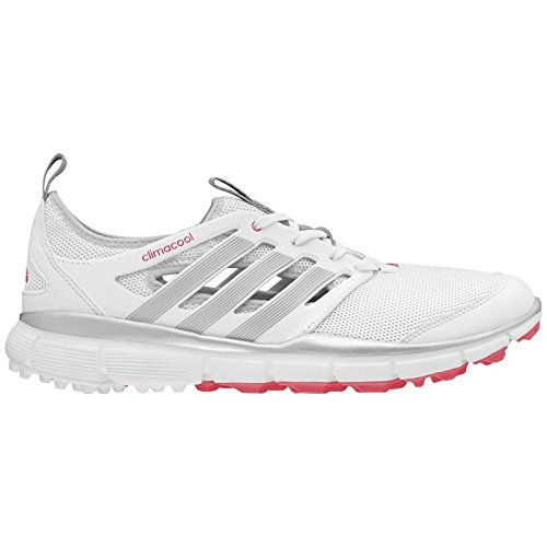 adidas Women's W Climacool II Golf Shoe, White/Silver Metallic/Flash Red, 7 M US (Women Golf Shoes 7 Spikeless)