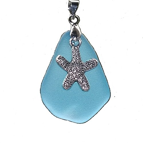 Glass Pendant Dolphin (2 Pcs Ocean Sea Life Charms Pendant &1 Inches Beach Sea Glass Bead ~Turtle Starfish Shark Seahorse Sea Fish Octopus Lobster Dolphin Whale Tail Crab Conch ~ JCT (Starfish 1))