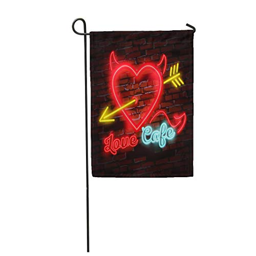 Semtomn Garden Flag 28x40 Inches Print On Two Side Polyester Yellow Vintage Neon Diner Sign Love Heart Arrow Power Home Yard Farm Fade Resistant Outdoor House Decor ()