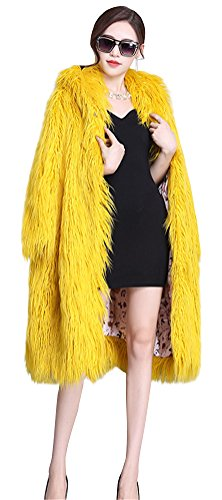 ACE SHOCK Faux Fur Coat Women Hooded, Fashion Long Winter Jacket Casual Warm Outwear Yellow Size XS-XL (US Regular Size M) by ACE SHOCK