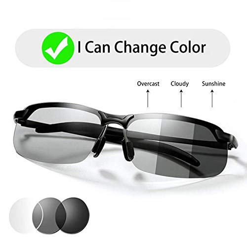 Men's Photochromic Sunglasses with Polarized Lens for Driving Running Golf Cycling Ski Fishing