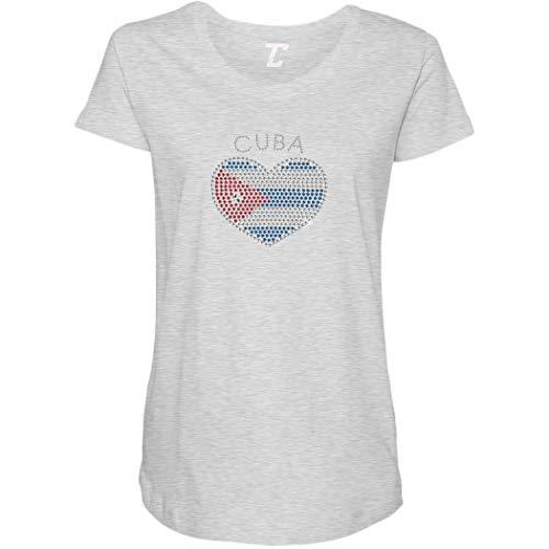 Cuba Heart - Rhinestone Cuban Side Ruched Maternity T-Shirt (Light Gray, XXX-Large) ()