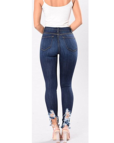 Dchirs Collants Denim Jeans Leggings Skinny Femmes Jeggings Pantalon Mince Bleu fonc Trou lasticit Pantalons Slim Stretch YH5Oq