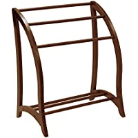 Quilt Rack In Oval Modern Shape Design Curvey and Unique Wirh Three Rungs Made of Solid Wood in Antique Walnut Color