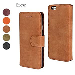 Mini - Scrub PU Leather Full Body Cover with Stand and Card Slot for iPhone 6 , Color-Brown