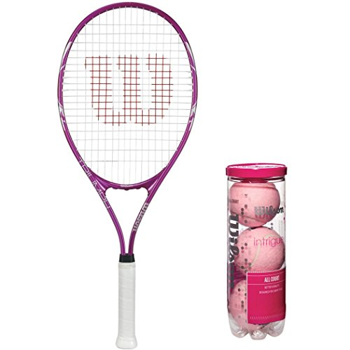 Wilson Triumph Pre-Strung Oversized Pink/White Recreational Tennis Racquet Kit or Set Bundled with (1) Can of 3 Pink Intrigue Tennis Balls
