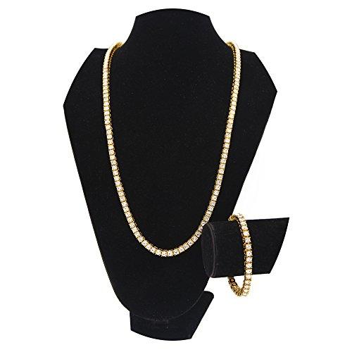 Link Pendant Bracelet - HongBoom Hot Hip Hop Link Chain 14K Gold Silver Plated 5.5MM CZ CRYSTAL Fully Iced-Out Bracelet Necklace (Gold)
