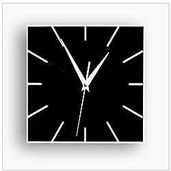 ZQ Modern European and American Creative fun decorating the living room wall clock wall clocks digital wall clock green Stereo Mute clock fashion square room decorations , black