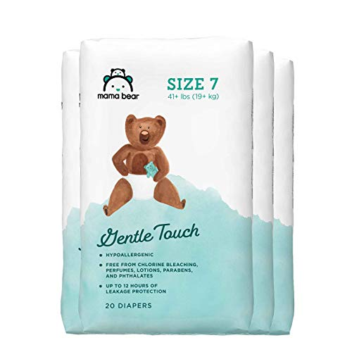 Amazon Brand – Mama Bear Gentle Touch Diapers, Size 7, Assorted Print, 80 Count (4 packs of 20)