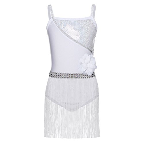 (dPois Kids Girls' Shiny Sequined Latin Salsa Rumba Tango Dance Competition Tassels Leotards Dress White 4)