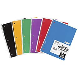 Mead Spiral Notebook, 1 Subject, 70 College Ruled Sheets, Assorted Colors, 6 PACK (73065)