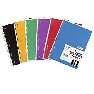 "Mead Spiral Notebooks, 1 Subject, College Ruled Paper, 70 Sheets, 10-1/2"" x 7-1/2"", Assorted Colors, 6 Pack (73605)"