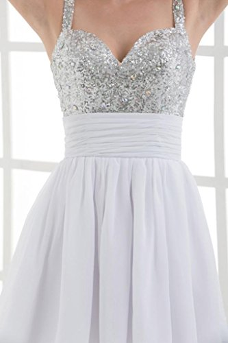 Bling Cocktail Buegel Weiß Chiffon kurzes GEORGE Spaghetti BRIDE Bling Kleid 76zqYE