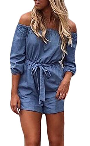 Jeans Ropa De Con Gürtel Vaqueros Joven Monos 3 Moderno Cortos Alta Overall Estilo Mangas Cuello Mujer Verano 4 Romper Dama Casual Cintura Elegantes Schulterfrei Azul Moda Barco fgHqRp