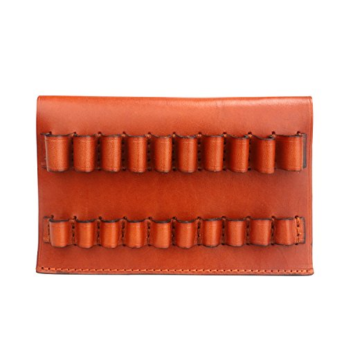 TOURBON Leather Rifle Shell Holder 10 Round Belt Ammo Carrier (Can Hold 375,300WIN.338,ect)