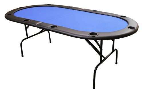82 Inch Texas Holdem Folding Poker Table with Legs Blue (Large Image)