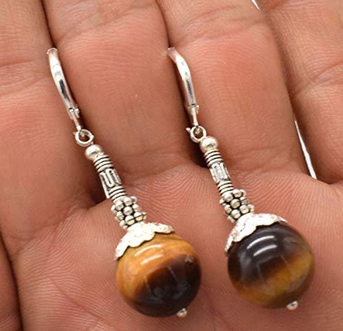 - 1 Pair Handmade 14mm Round Yellow Tigers Eye Gemstone Earrings 925 Silver Hook