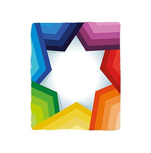 VROSELV Custom Blanket Rainbow Colored Stripes Shaping a Giant Star Conceptual Spectrum Modern Art Print Bedroom Living Room Dorm Multicolor