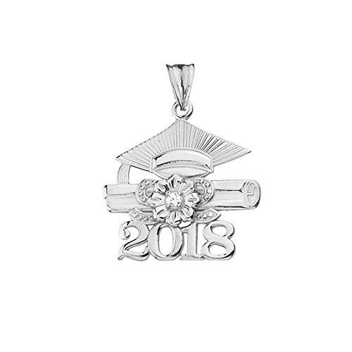 Dazzling Sterling Silver Diamond Class of 2018 Graduation Charm Pendant