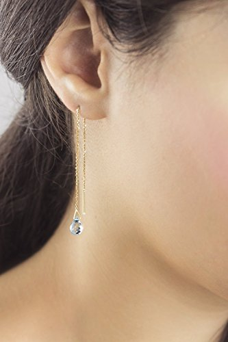 Aquamarine Threader Earrings, 9K, 14K, 18K Gold Earrings, Yellow Gold Threaders, Gold Chain Earrings, March Birthstone, Gemstone Earrings /code: 0.001