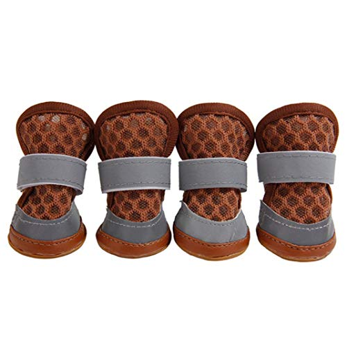 Casual Pet Dog Cute Anti-Skid Breathable Soft Shoes Mesh Sandals Puppy Footwear - Coffee M
