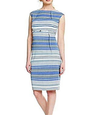 CALVIN KLEIN Women's Plus Size Striped Belted Dress. (Blue, Grey)