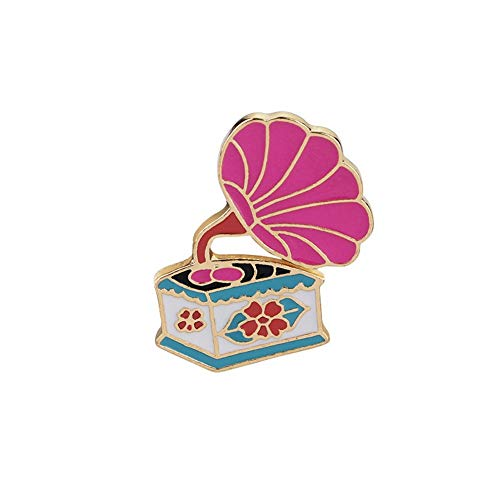 SKZKK Enamel Pin Retro Color Record Player Broaches and Pins for Women,Pins for Jackets Fashion Painted Jewelry for Women
