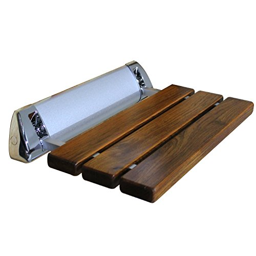LADA LD3 Folding Wall Mount Fold-Up Teak Wood Shower Seat Bench Chrome