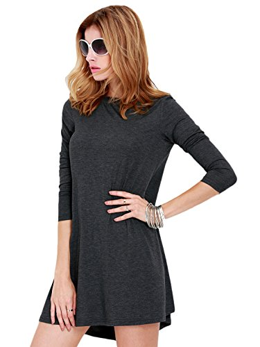 Sheinside® Women's Grey Long Sleeve Casual Dress