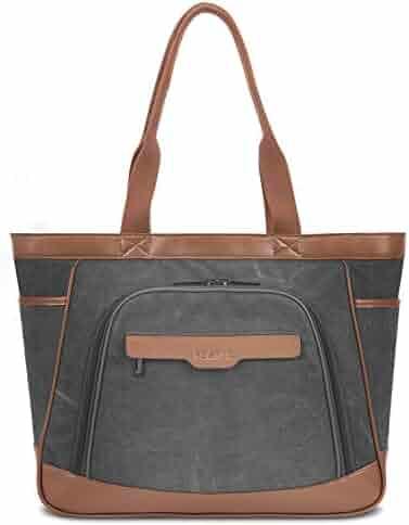 Women Laptop Tote Bag with Detachable Sleeve Canvas Shoulder Bag Travel  Handbag Business Office Briefcase for 7ec1e4b2fa974