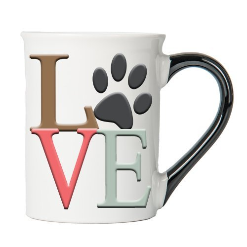 - Cottage Creek - LOVE Paw-print Coffee Mug - Dog Lover Gifts - Cat Lover Gifts - 18 Ounce Ceramic Coffee Mug