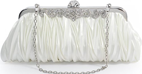 Elf of Bolsas - Evening Handbag Classic Satin Detachable Strap Ivory (Ivory Handbag Purse)