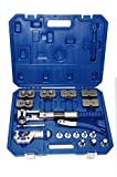 2 in 1 Hydraulic tube expander and flaring tool kit for 3/16 1/4 5/16 3/8 1/2 5/8 3/4 7/8 inch HVAC Soft Copper Stainless Steel Tube Water Gas Automotive Plumbing Line Come with Portable Carrying Case