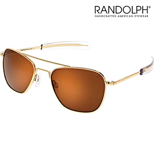 Aviator Sunglasses for Men or Women - Randolph Engineering Sunglasses - Guaranteed for Life, Built to Military Specifications. Authentic Pilot Aviators. Made in USA. 23k Gold American Tan Brown P 55mm (Sonnenbrille Aviator Schwarz)