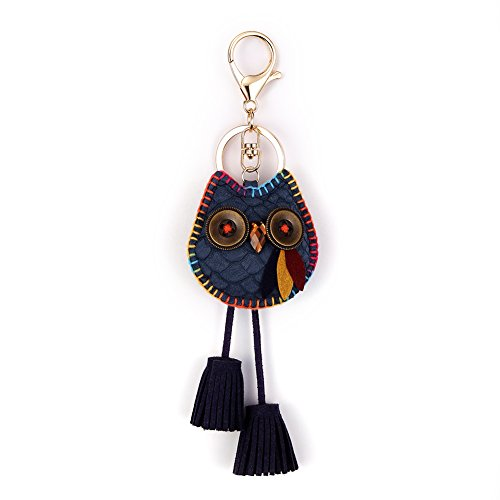 Owl Key Ring Chain, Nikang Handmade Leather Key Holder with Tassels, Navy